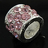 Rhinestone European Beads, Tube, zinc alloy setting, no troll, more colors for choice, 11x8mm, Hole:Approx 6MM, Sold by PC