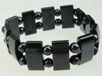 Magnetic Hematite Bracelets, A grade, round & rectangle shape, 10x18mm, Sold per 7.5-Inch Strand