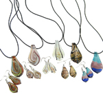 Lampwork Jewelry Sets, Leaf, necklace & earring, lampwork pendant & rubber cord, mixed design, fashion jewelry set for wear, 28.5x56mm, 13.5x50mm, Length:18.5 Inch, Sold by Set