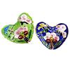 Beads Smooth Cloisonne, Zemër, asnjë, 30.50x25x10mm, : 1.5mm, 10PC/Qese,  Qese