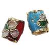 Beads filigran Cloisonne, Daulle, 7x8mm, : 2mm, 100PC/Qese,  Qese