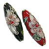 Beads filigran Cloisonne, Oval, 26x8mm, : 1.5mm, 100PC/Qese,  Qese