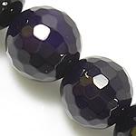 Natürliche violette Achat Perlen, Violetter Achat, rund, facettierte, 8mm, Bohrung:ca. 0.8-1mm, Länge:ca. 15 ZollInch, 5SträngeStrang/Menge, verkauft von Menge