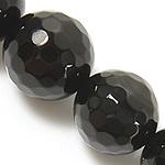 Natürliche schwarze Achat Perlen, Schwarzer Achat, rund, verschiedene Größen vorhanden & facettierte, schwarz, Grade A, verkauft per ca. 15 ZollInch Strang