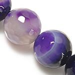 Natürliche violette Achat Perlen, Violetter Achat, rund, Streifen, 12mm, Bohrung:ca. 1.5-2mm, Länge:ca. 14.5 ZollInch, 5SträngeStrang/Menge, verkauft von Menge