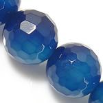 Natürliche blaue Achat Perlen, Blauer Achat, rund, facettierte, blau, 16mm, Bohrung:ca. 2mm, Länge:ca. 15 ZollInch, 5SträngeStrang/Menge, verkauft von Menge