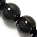 Natürliche schwarze Achat Perlen, Schwarzer Achat, rund, verschiedene Größen vorhanden, Grade A, Länge:ca. 15 ZollInch, verkauft von Menge