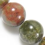 Beads Unakite, Round, natyror, 12mm, : 1.5mm, : 15.5Inç, 10Fillesat/Shumë,  Shumë
