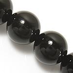 schwarzer Diamant Perle, rund, synthetisch, 14mm, Bohrung:ca. 1.2-1.4mm, Länge:ca. 15 ZollInch, 10SträngeStrang/Menge, ca. 27PCs/Strang, verkauft von Menge