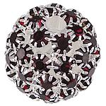 Strass Messing Perlen, rund, silberfarben plattiert, ohne troll & mit Strass & hohl, dunkelrot, frei von Nickel, Blei & Kadmium, 26mm, Bohrung:ca. 4.8mm, verkauft von PC