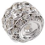 Beads bizhuteri Diamant i rremë, Tunxh, Daulle, Ngjyra argjend praruar, argjend, 14.50x17mm, : 2mm, 30PC/Qese,  Qese