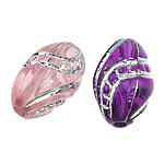 Beads ABS plastike, Oval, ngjyra të përziera, 8x13mm, : 1.5mm, 1200PC/Qese,  Qese