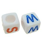 Beads ABS plastike, Kub, ngjyra të përziera, 6x6mm, : 3.5mm, 2700PC/Qese,  Qese