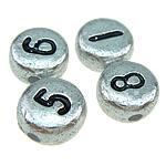 Beads ABS plastike, Monedhë, argjend, 7x4mm, : 1mm, 3500PC/Qese,  Qese