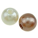 Beads ABS plastike, Round, ngjyra të përziera, 6mm, : 1mm, 4700PC/Qese,  Qese