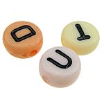 Beads ABS plastike, Monedhë, ngjyra të përziera, 7x3mm, : 1mm, 3600PC/Qese,  Qese