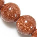 Beads Goldstone, Round, natyror, 10mm, : 1.5mm, : 15.5Inç, 10Fillesat/Shumë,  Shumë