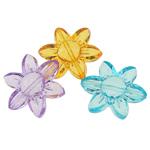 Beads transparente akrilik, Lule, i tejdukshëm, ngjyra të përziera, 25x28x8mm, : 1.5mm, 221PC/Qese,  Qese