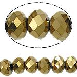 Rondelle Beads Crystal, Kristal, imitim kristal Swarovski, Ngjyra metalike praruar, 6x8mm, : 1.5mm, :16Inç, 10Fillesat/Qese,  Qese