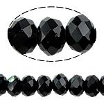 Rondell Kristallperlen, Kristall, AA grade crystal, Jet schwarz, 3x4mm, Bohrung:ca. 1mm, Länge:ca. 18 ZollInch, 10SträngeStrang/Tasche, ca. 150PCs/Strang, verkauft von Tasche