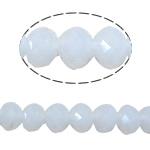 Rondell Kristallperlen, Kristall, AA grade crystal, weißer Alabaster, 3x4mm, Bohrung:ca. 1mm, Länge:ca. 19 ZollInch, 10/