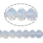 Rondelle Beads Crystal, Kristal, imitim kristal Swarovski, White Opal, 6x8mm, : 1.5mm, :16Inç, 10Fillesat/Qese,  Qese