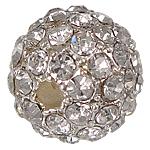 Beads bizhuteri Diamant i rremë, Tunxh, Round, me diamant i rremë, argjend, 10mm, : 2mm, 20PC/Qese,  Qese