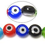 Böser Blick Lampwork Perlen, blöser Blick, gemischte Farben, 6x6x2.5-3.5mm, Bohrung:ca. 1mm, Länge:ca. 14.5 ZollInch, 10SträngeStrang/Menge, verkauft von Menge