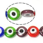 Böser Blick Lampwork Perlen, blöser Blick, gemischte Farben, 12x12x4mm, Bohrung:ca. 1mm, Länge:ca. 14.5 ZollInch, 10SträngeStrang/Menge, verkauft von Menge