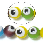 Böser Blick Lampwork Perlen, blöser Blick, gemischte Farben, 8mm, Bohrung:ca. 1mm, Länge:ca. 14.2 ZollInch, 10SträngeStrang/Menge, verkauft von Menge