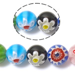 Chevron Glasperlen, Glas Millefiori, rund, gemischte Farben, 10mm, Bohrung:ca. 1mm, Länge:ca. 14.2 ZollInch, 10SträngeStrang/Menge, verkauft von Menge