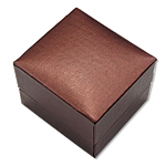 Unaza lëkurë artificiale Box, Papper lëkurë artificiale, Katror, bojë kafe, 50x40x40mm, 10PC/Qese,  Qese