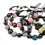 Rrëshirë Shamballa Bracelets, with Cord najlon & Jo-magnetike kuqe e mbylltë & Rrëshirë diamant i rremë, endura, ngjyra të përziera, 12x12mm, :7Inç, 10Fillesat/Qese,  Qese
