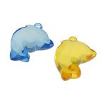 Pendants akrilik, Kafshë, i tejdukshëm, ngjyra të përziera, 31x21x11mm, : 2.5mm, 28PC/Qese,  Qese