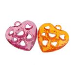 Pendants akrilik, Zemër, i tejdukshëm, ngjyra të përziera, 25x27x7mm, : 2.5mm, 283PC/Qese,  Qese