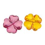 Beads transparente akrilik, Lule, i tejdukshëm, ngjyra të përziera, 25x9mm, : 2mm, 152PC/Qese,  Qese