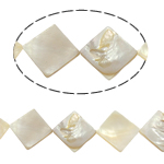 Natürliche weiße Muschelperlen, Rhombus, weiß, 34x3mm, Bohrung:ca. 2mm, 12PCs/Strang, verkauft per 15.5 ZollInch Strang