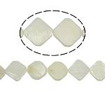 Natürliche weiße Muschelperlen, Rhombus, weiß, 18x3mm, Bohrung:ca. 1mm, 24PCs/Strang, verkauft per 15.5 ZollInch Strang