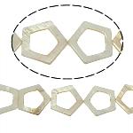 Beads Natyrore White Shell, Pentagoni, asnjë, e bardhë, 30x30x3mm, : 2mm, :15.5Inç, 13PC/Fije floku,  15.5Inç,