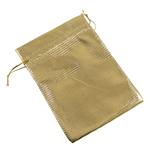Drawstring çanta bizhuteri, Organza, ar, 50x70mm, 100PC/Qese,  Qese