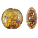 Silberfolie Lampwork Perlen, flache Runde, braun, 20x10mm, Bohrung:ca. 1.5mm, 100PCs/Tasche, verkauft von Tasche