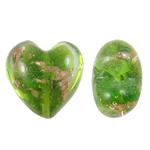 Goldsand Lampwork Perlen, Herz, grün, 20x14mm, Bohrung:ca. 1.5mm, 100PCs/Tasche, verkauft von Tasche