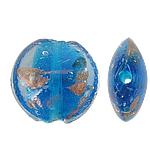 Goldsand Lampwork Perlen, flache Runde, 20x10mm, Bohrung:ca. 1.5mm, 100PCs/Tasche, verkauft von Tasche