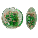 Goldsand Lampwork Perlen, flache Runde, grün, 20x10mm, Bohrung:ca. 1.5mm, 100PCs/Tasche, verkauft von Tasche