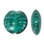 Innerer Twist Lampwork Perlen, flache Runde, innen Twist, grün, 28x12mm, Bohrung:ca. 2mm, 100PCs/Tasche, verkauft von Tasche
