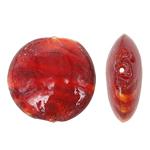 Innerer Twist Lampwork Perlen, flache Runde, rot, 28x12mm, Bohrung:ca. 2mm, 100PCs/Tasche, verkauft von Tasche