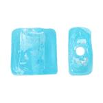 Silberfolie Lampwork Perlen, Quadrat, hellblau, 12x6mm, Bohrung:ca. 2mm, 100PCs/Tasche, verkauft von Tasche