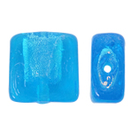 Silberfolie Lampwork Perlen, Quadrat, blau, 12x6mm, Bohrung:ca. 2mm, 100PCs/Tasche, verkauft von Tasche