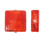 Silberfolie Lampwork Perlen, Quadrat, rot, 12x6mm, Bohrung:ca. 2mm, 100PCs/Tasche, verkauft von Tasche