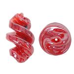 Handgewickelte Perlen, Lampwork, Spirale, rot, 15x29mm, Bohrung:ca. 2mm, 100PCs/Tasche, verkauft von Tasche